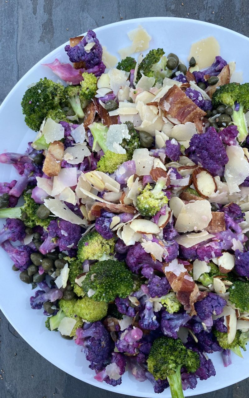 Roasted Broccoli + Cauliflower with Bacon, Toasted Almonds and Capers