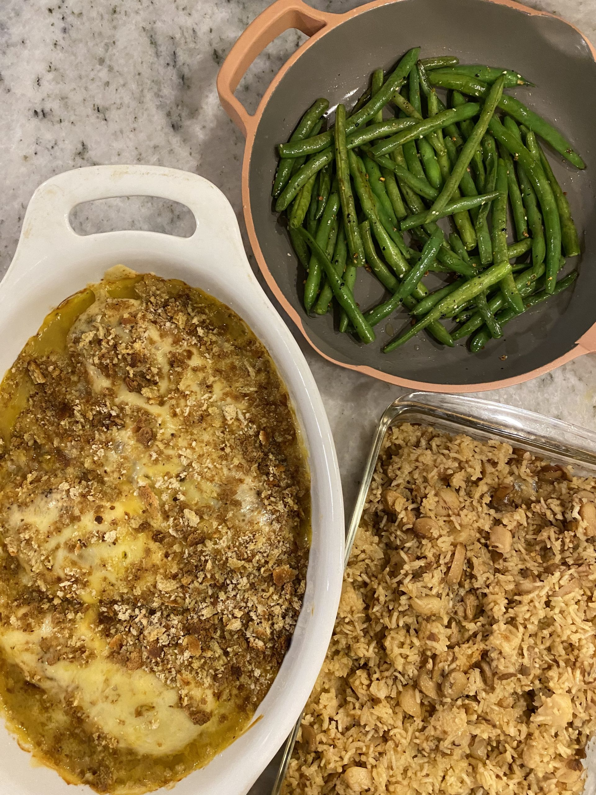 Creamy Baked Chicken + French Onion Rice